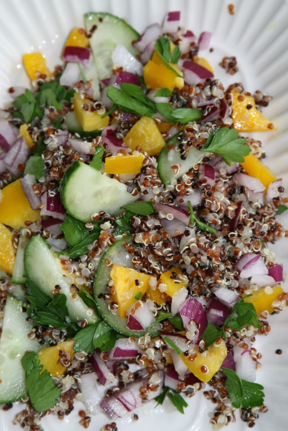 Tri-color quinoa and raw vegetables