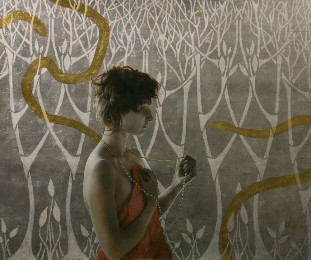 Girl With Serpents and Pearls.   25 x 30 inches.  Oil, gold and silver leaf on linen.  Private collection.