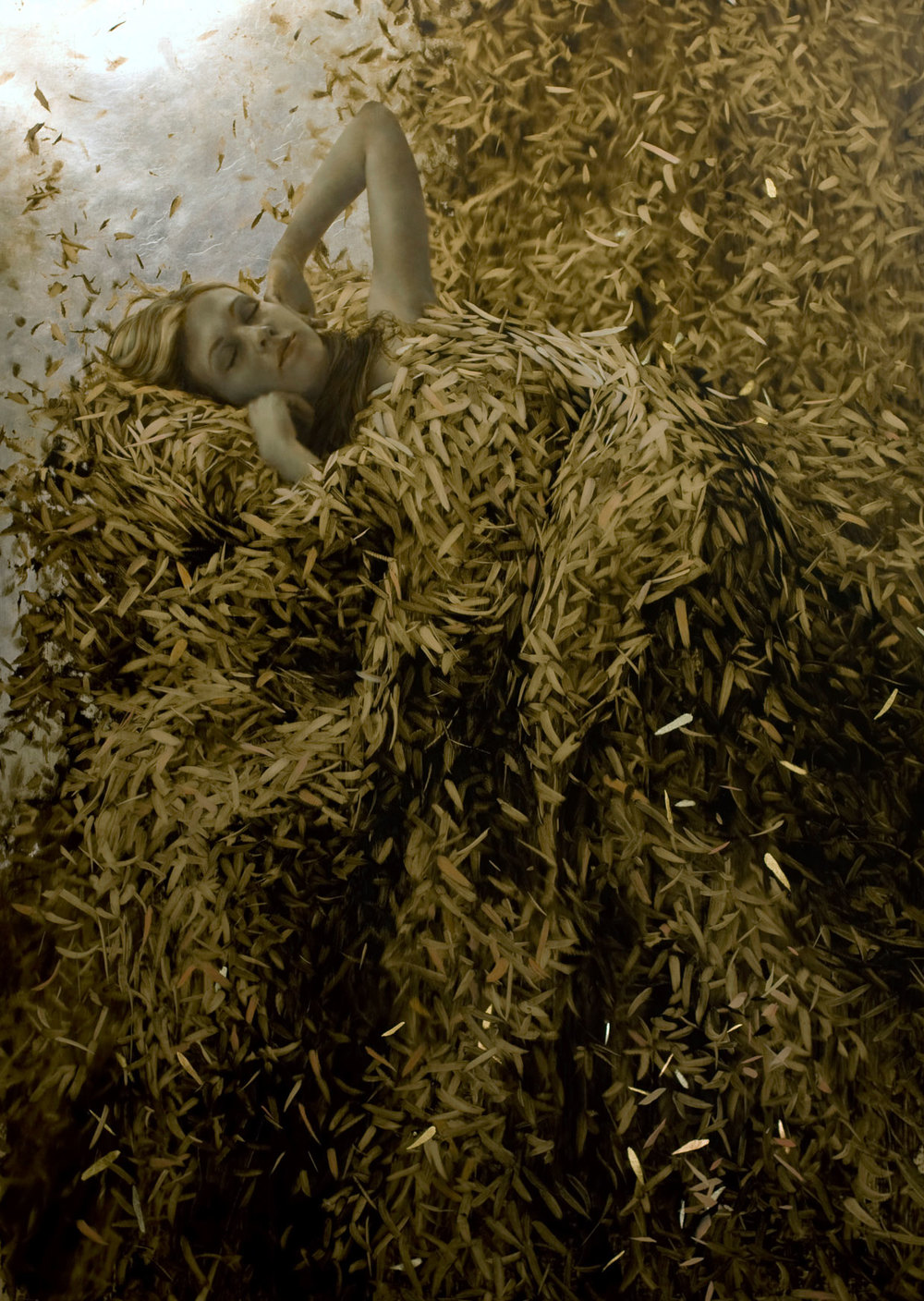 Sixth Sleep.   47 x 31 inches.  Oil, gold and silver leaf on linen.  Private collection.