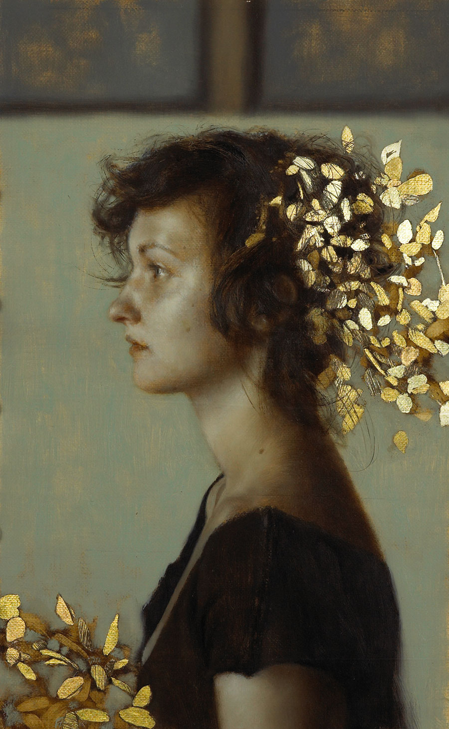 July.   12 x 8 inches.  Oil and gold leaf on linen.  Private collection.
