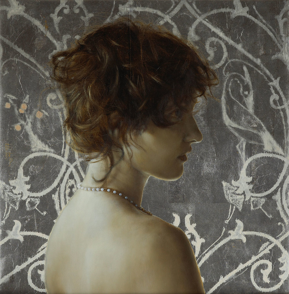 Waiting in Pearls.   12 x 12 inches.  Oil and silver leaf on linen.  Private collection