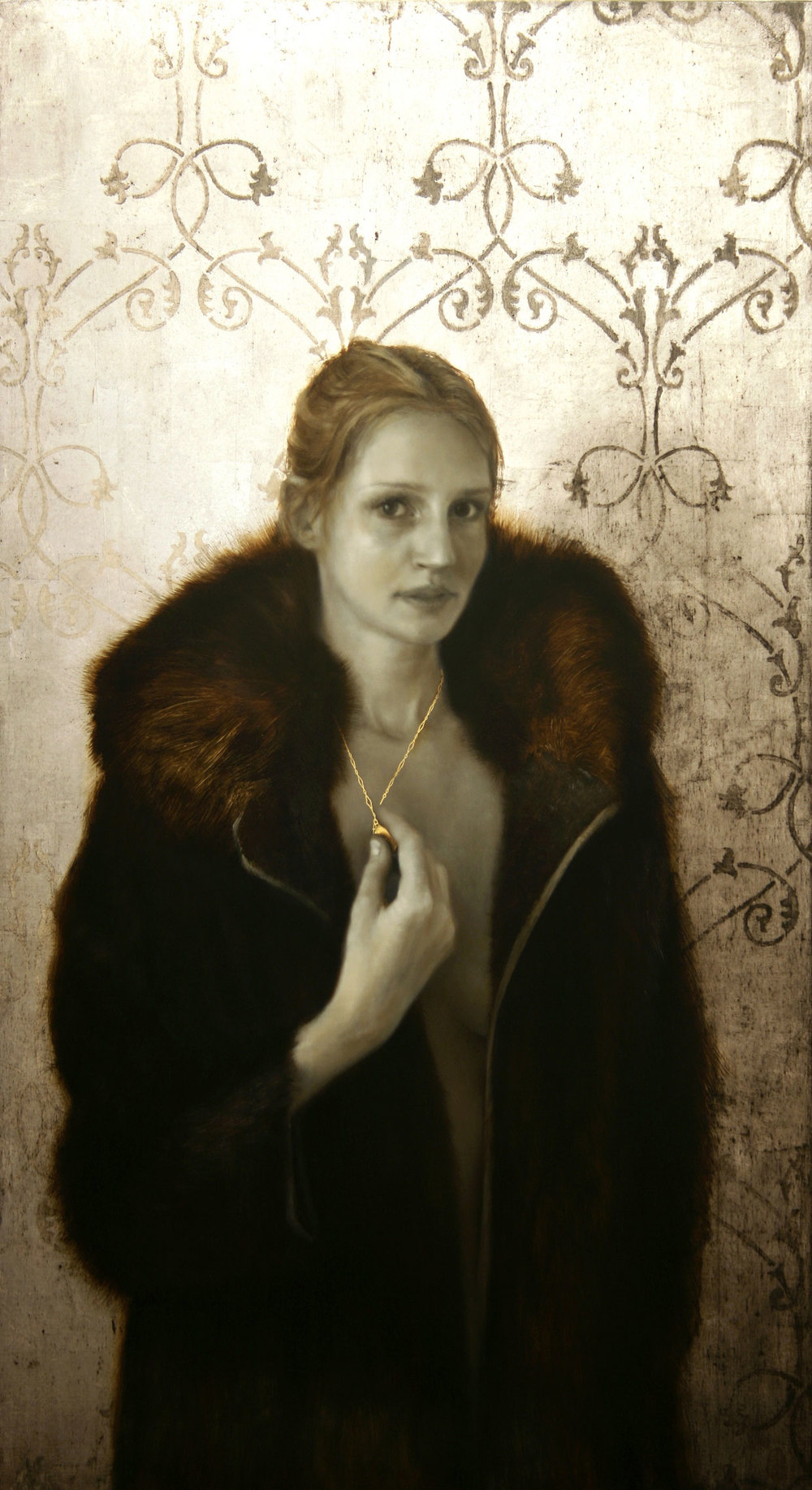 Locket and The Fur Coat.   44 x 24 inches.  Oil, gold and silver leaf on linen.  Private collection