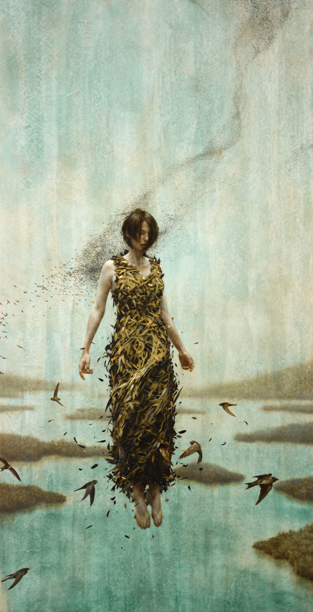 Over The Ocean.   70 x 36 inches.  Oil and gold leaf on linen.  Private collection