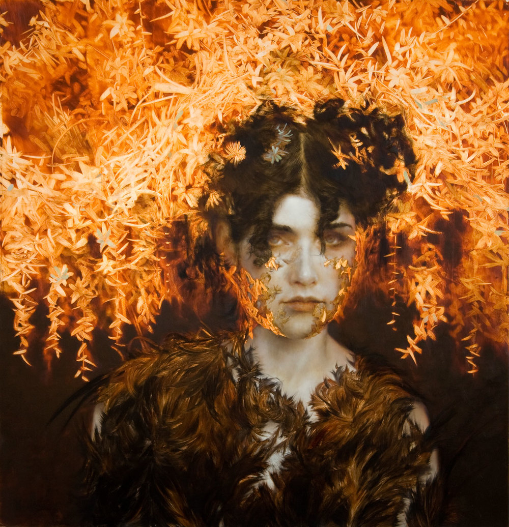 Candela.   33 x 32 inches.  Oil and silver leaf on wood.  Private collection.