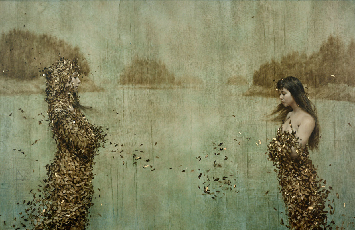 Islands , 2012. Oil and gold on linen. 30 x 50 inches. Private collection. Beautiful Oil and Gold Leaf Painting by Brad Kunkle #artpeople