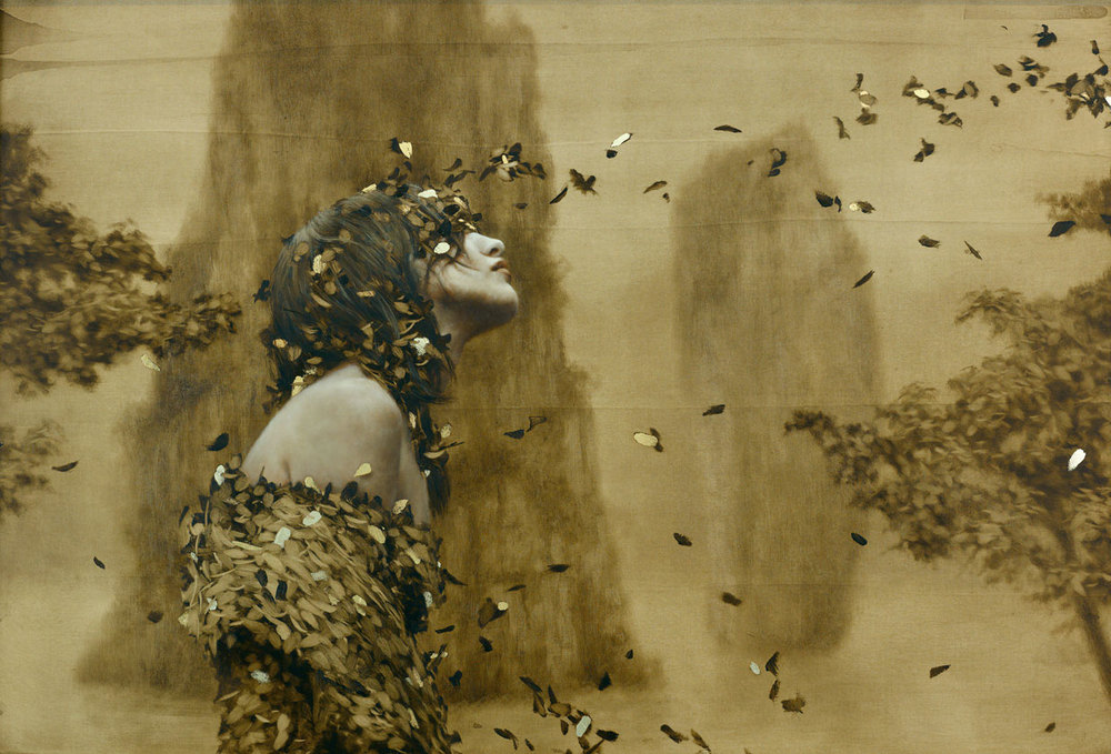 Seer , 2012. Oil, gold, and silver on linen panel. 19 x 27 inches. Private collection.