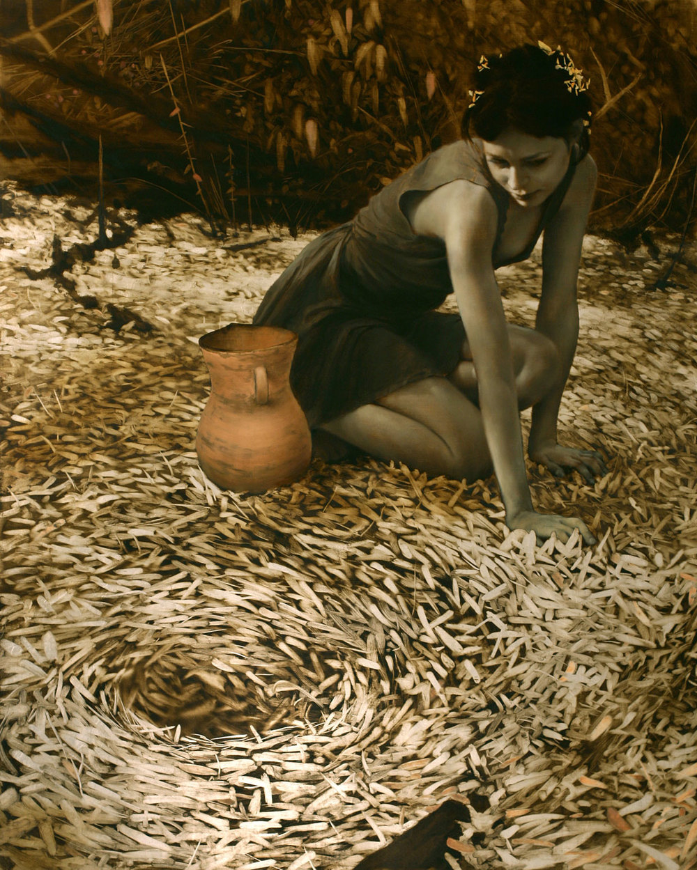 The Watering Hole , 2010. Oil, gold, and silver on linen. 45 x 36 inches. Private collection.