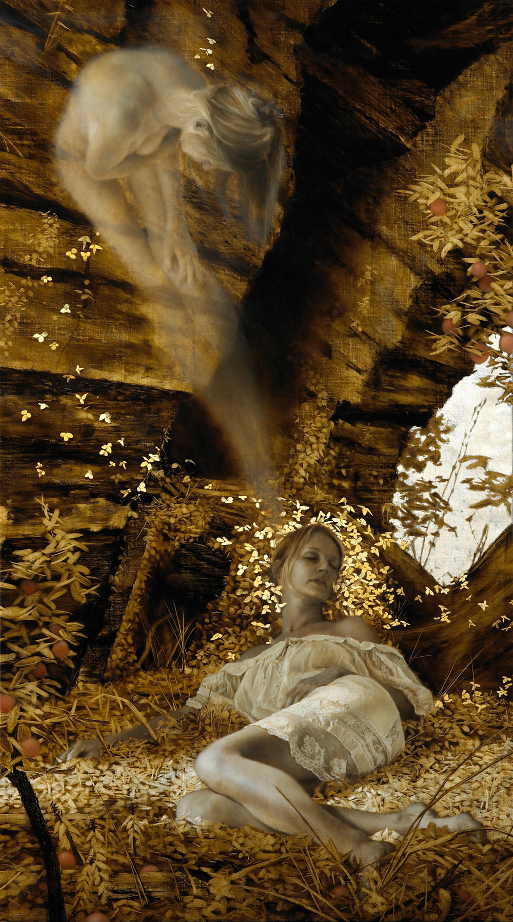 Eidolon , 2008-09. Oil, gold, and silver on linen. 64 x 36 inches. Private collection.