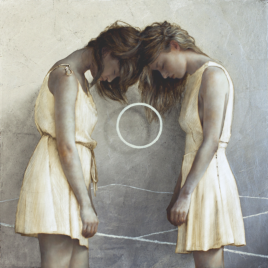 Eclipse , 2015.  Oil and silver on wood.  16 x 16 inches.  Beautiful Oil and Gold Leaf Painting by Brad Kunkle #artpeople