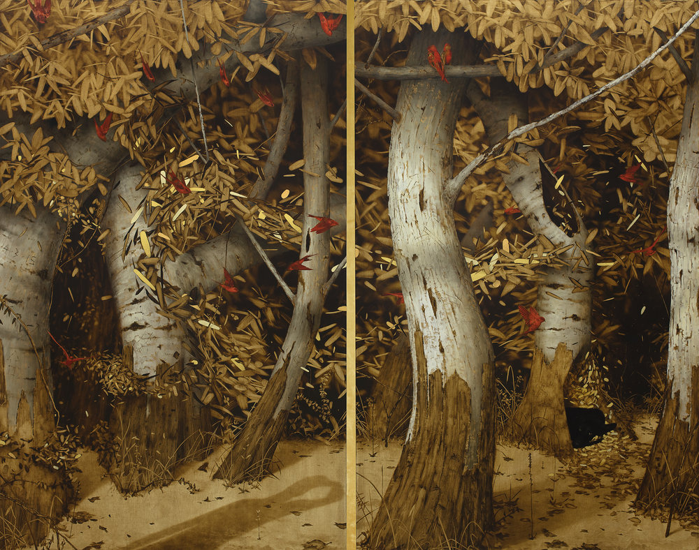The Golden Corridor.    Oil and gold leaf on linen panels.  64x82 inches,  Diptych