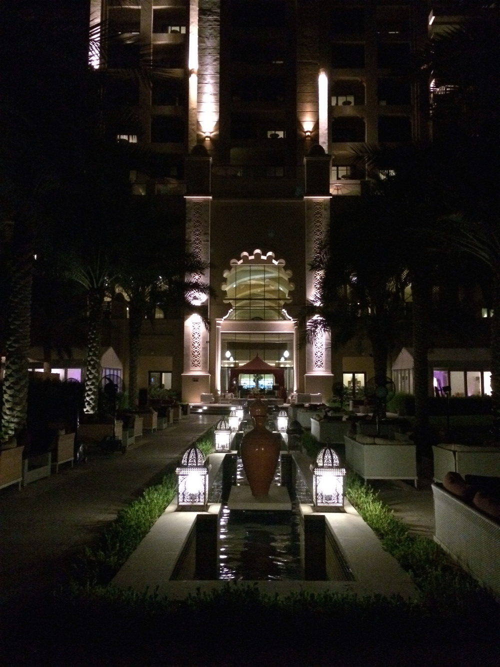 The hotel outside at night