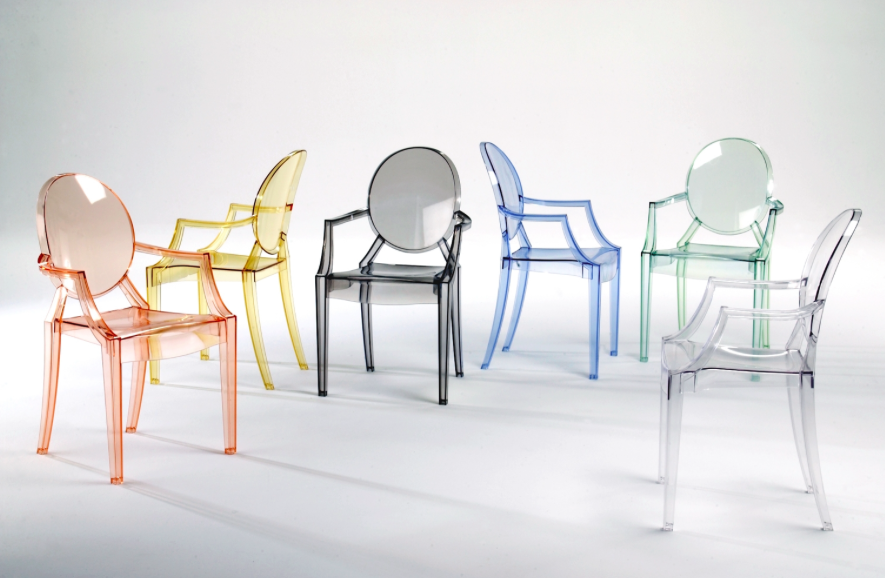 Louis Ghost chair (2002) in different colours - pic via   www.starck.com