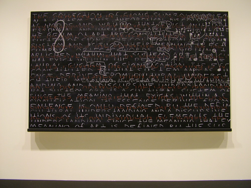 "Logocentric Playground: The Collection ; 2006; blackboard paint; chalk, pastel, pencil on birch panel; H48""xW69"""