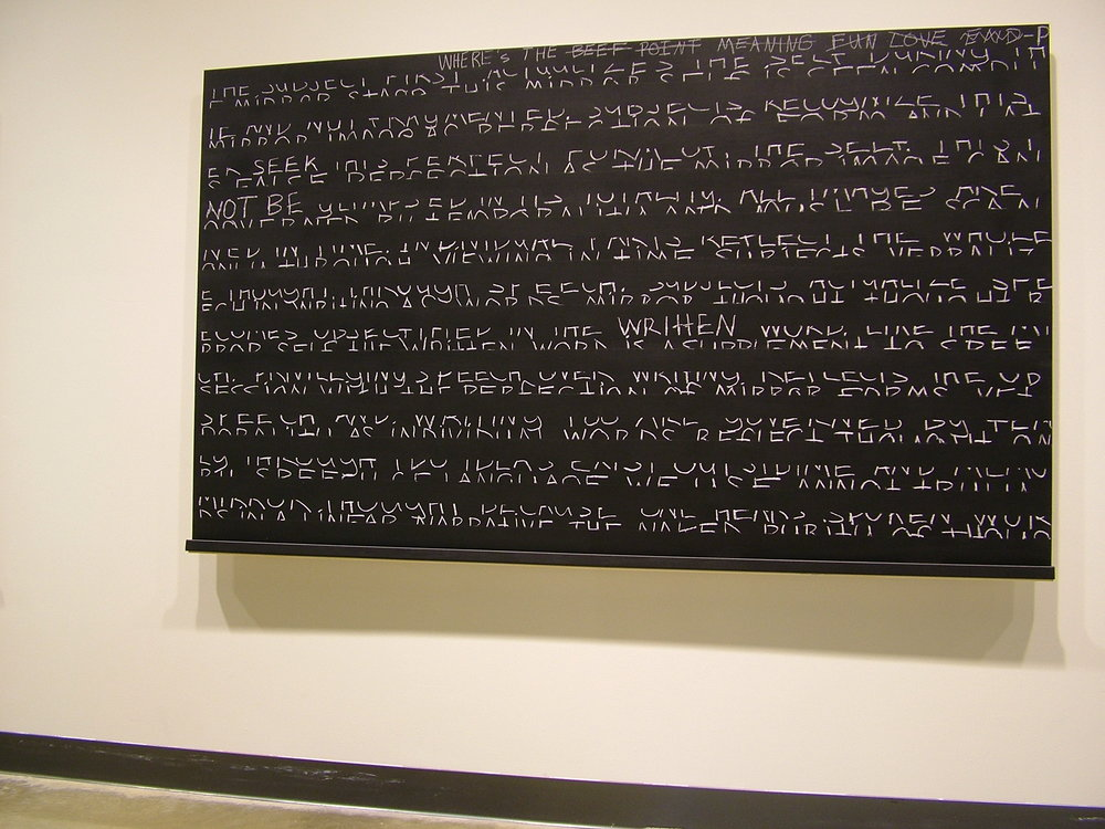 """Logocentric Playground: The Subject ; 2006; blackboard paint; chalk, pastel, pencil on birch panel; H48""""xW69"""" (Beginning of public interaction:  """"Where's the beef…"""")"""