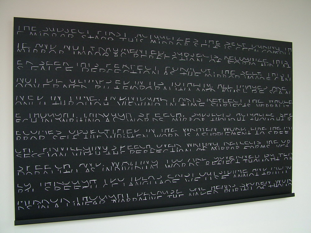 """Logocentric Playground: The Subject ; 2006; blackboard paint; chalk, pastel, pencil on birch panel; H48""""xW69"""" (View on Nov. 13, first day of installation.)"""