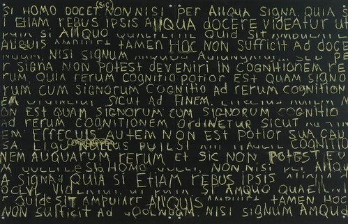"""Song for Europe: De Magistro (Latin) ; blackboard paint, pastel, pencil on MDF; H31""""xW48"""" (diptych)                                                        Participatory installation at The Athenaeum in Alexandria, Virginia."""