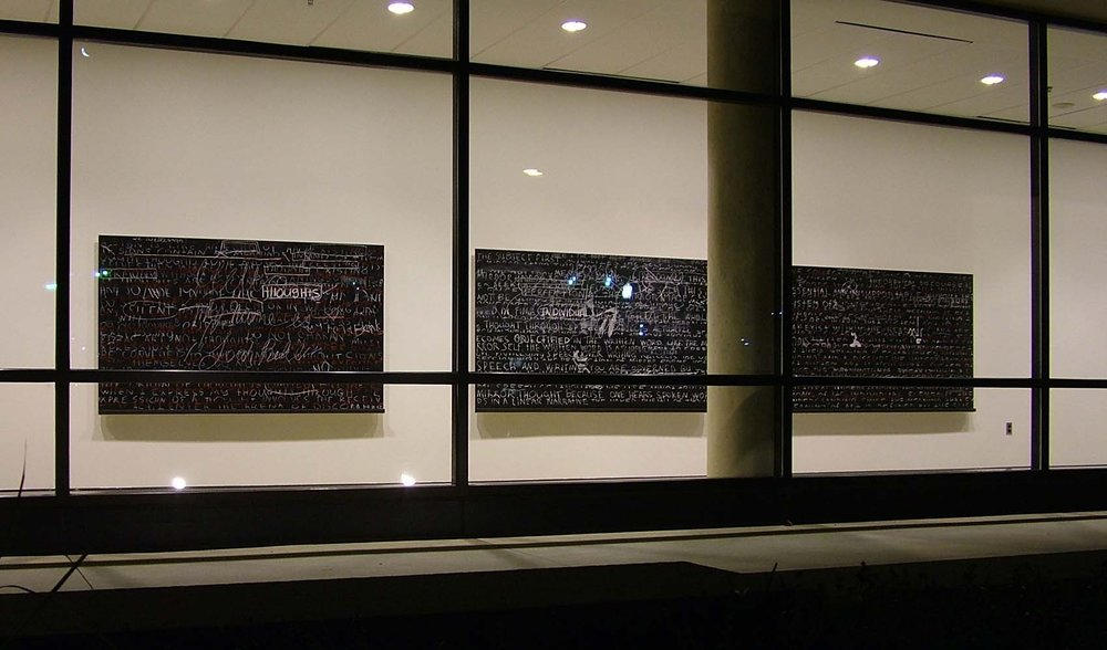 "Logocentric Playground ; 2006; blackboard paint; chalk, pastel, pencil on three birch panels; approximate dimensions: H48""xW252"" Participatory installation at American University Museum at Katzen Arts Center, Washington, DC."