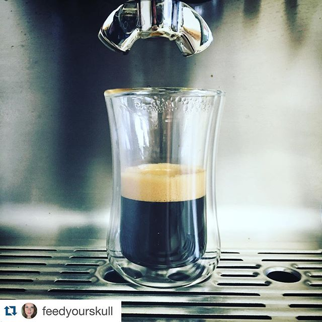 That's a great Photo. #Repost @feedyourskull with @repostapp. ・・・ Curves. Cold steel. Bitter bliss. Dark. Crisp. 😍☕️ It's been a few days. Turned this lovely into an americano. #espresso #ipretendiknowthings #mibuu #breville #coffee #glass #metal #professional