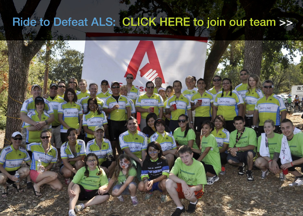 The 10th annual Napa Valley Ride to Defeat ALS is just around the corner.  We are building our biggest team yet with a lofty fundraising goal of $35,000.  Click on the photo above to learn more about our team, the ride routes or to register.  Skyline will pay the registration fees for all riders and walkers - everyone is welcome!  Questions? Contact Ali Bedwell at abedwell@skylineconst.com