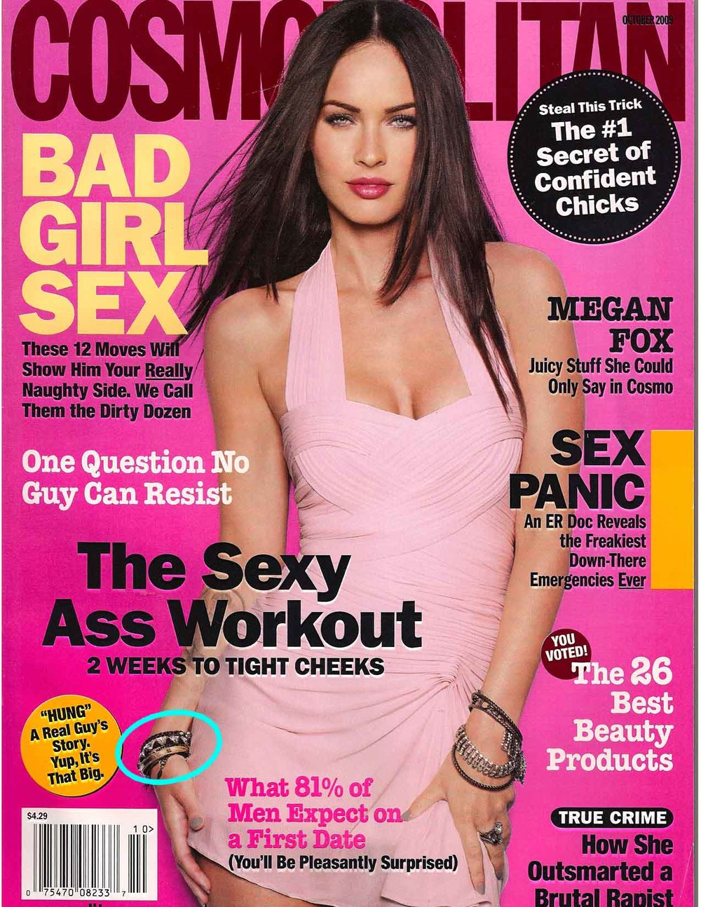 Cosmopolitan (US) with Megan Fox wearing Landver Jewelry - Spike Bangle
