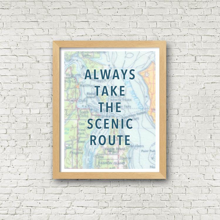 Take The Scenic Route Map Print 11 x 14 — Rachel Ann Austin
