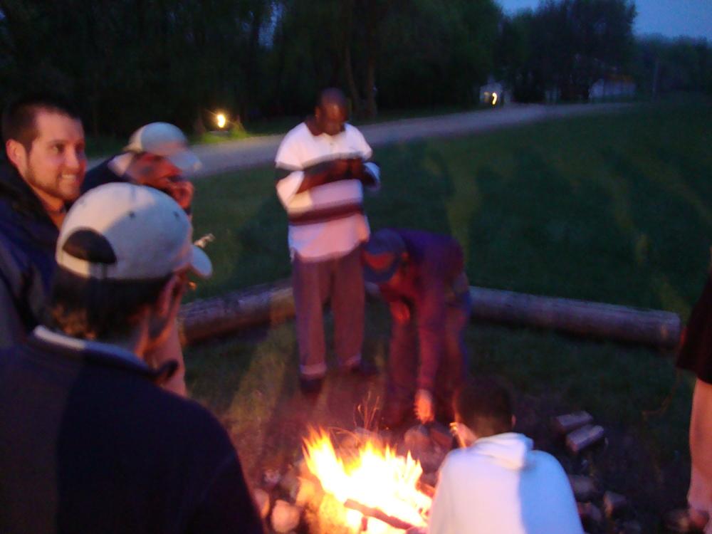 Evening campfire.