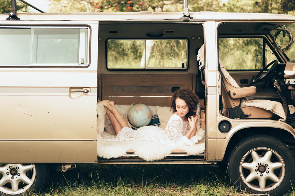 1970's style wedding gown. Hawaii wedding dress. destination wedding. vintage, lace wedding dress, bridal. Low back wedding dress. VW van.