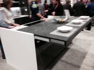 Richelieu track system with sliding countertop.
