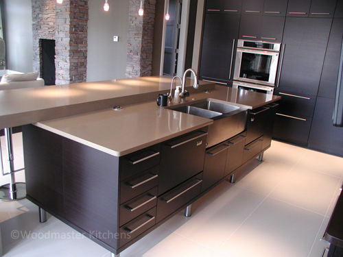 Contemporary kitchen design with a stainless steel sink.