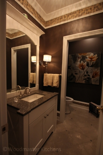 Bathroom design with a vanity cabinet.
