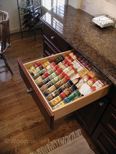 Drawer accessory for spice storage.