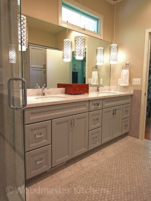Contemporary bathroom design with a gray vanity.