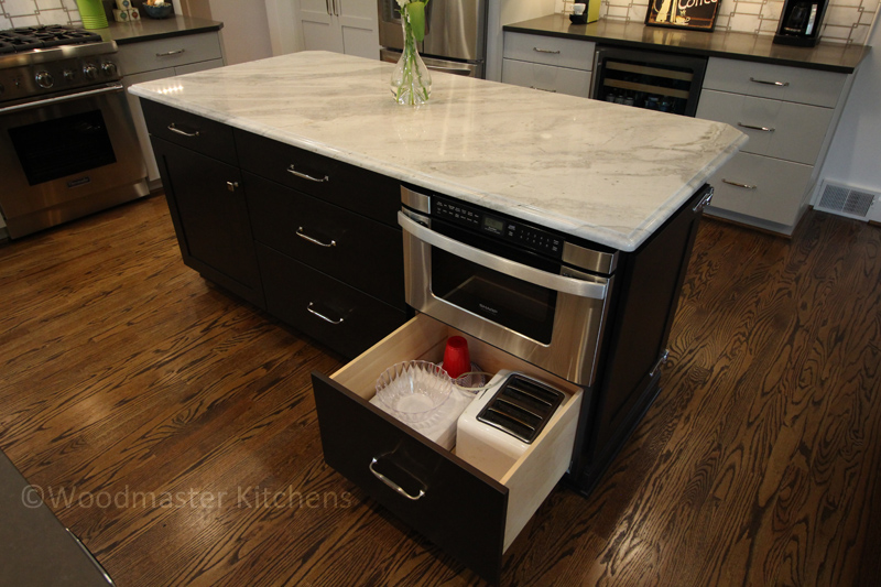 Kitchen design with customized storage.