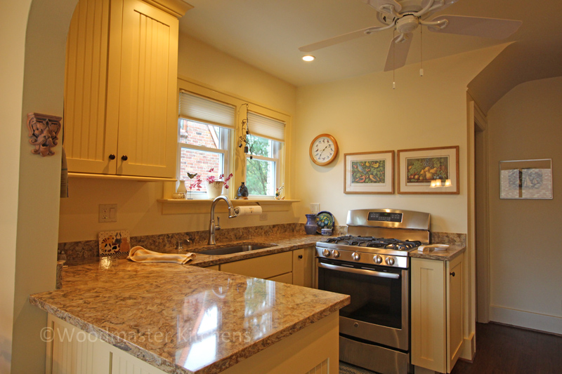 Kitchen design with engineered quartz countertop.