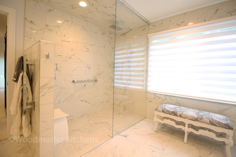 Bathroom design with large, enclosed shower.