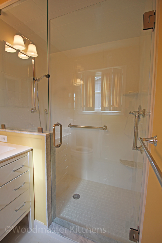 Bathroom design with shower rail