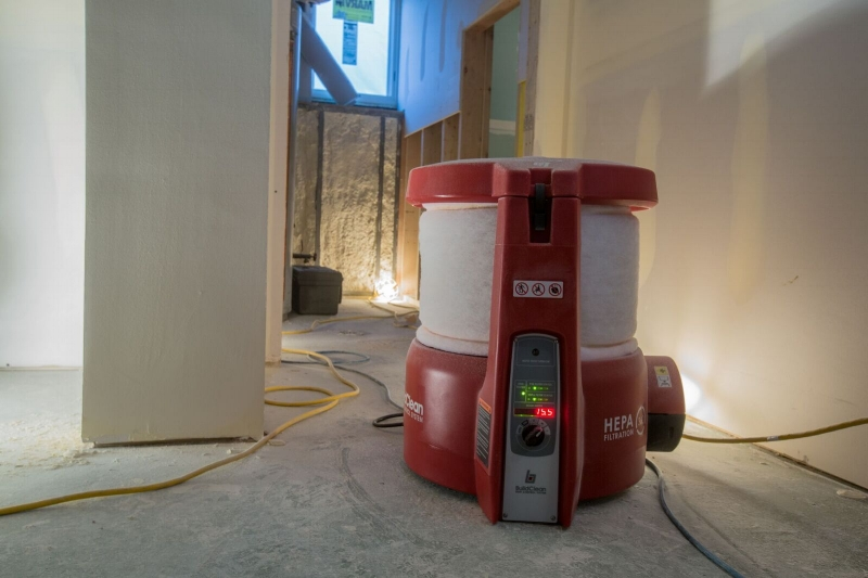 Jobsite with BuildClean air scrubber.