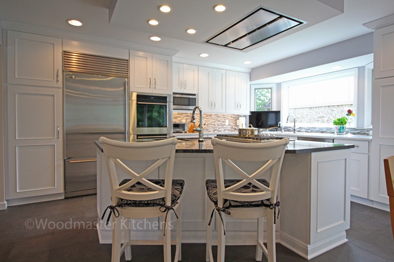 Kitchen design with geometric island.