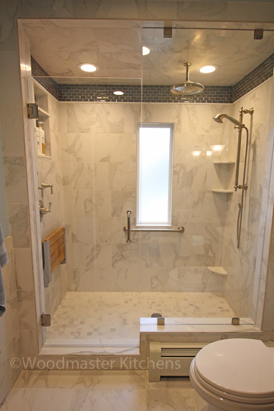 Traditional bathroom design with large shower.