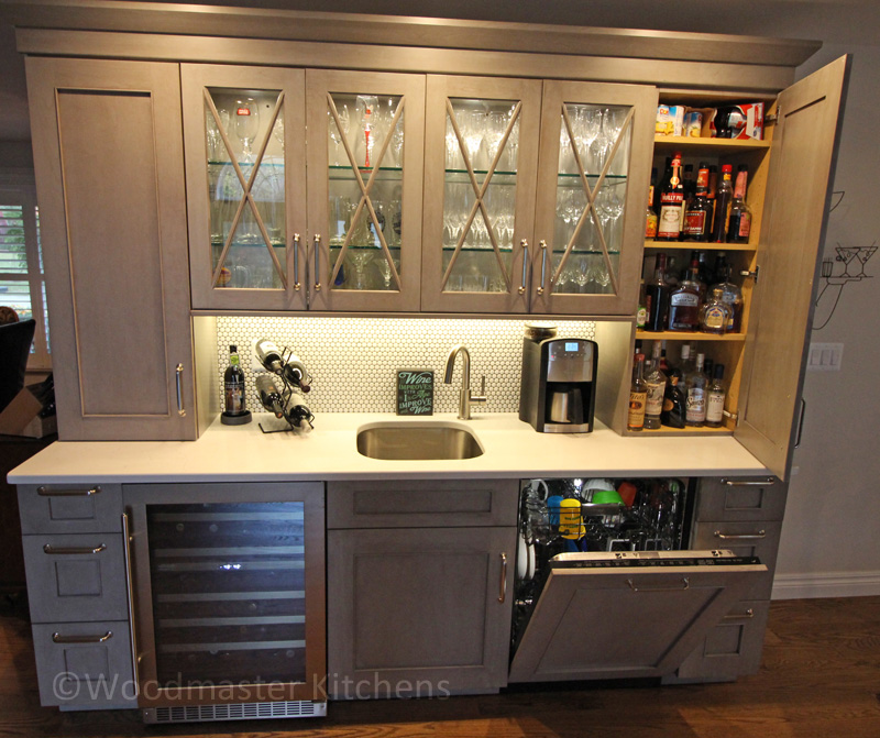 Kitchen design with hutch style beverage bar.