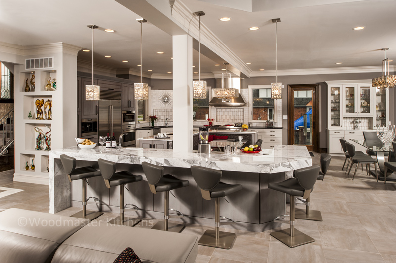 Contemporary kitchen design with unique pendant lights