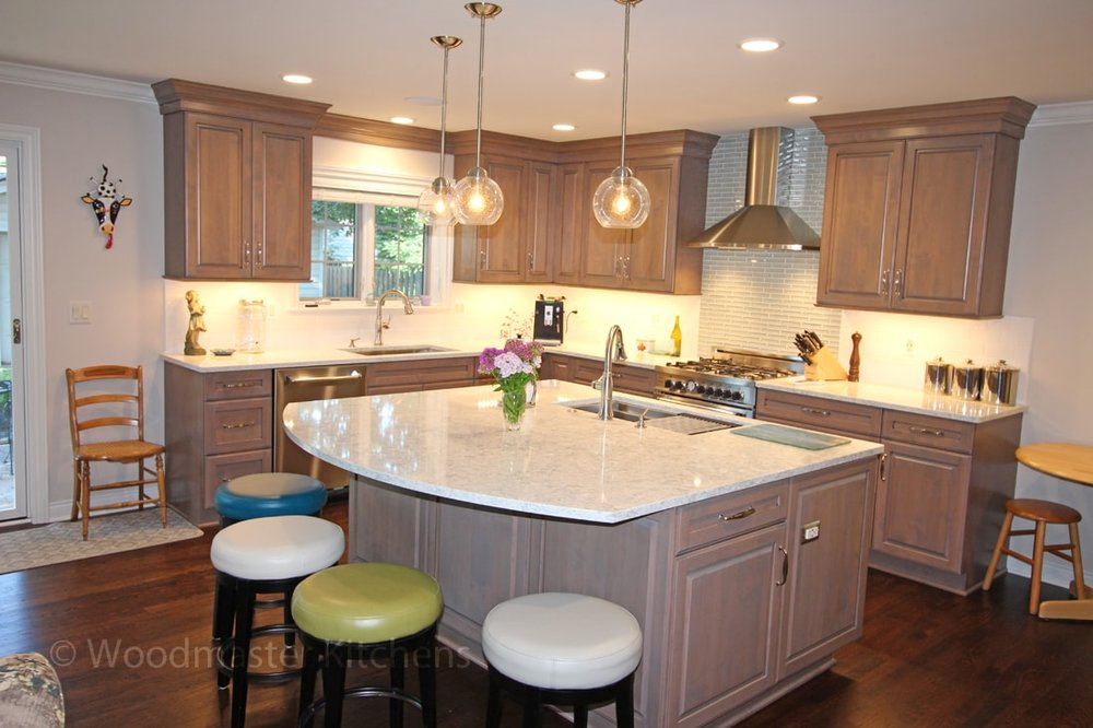 Kitchen cabinets with pebble finish
