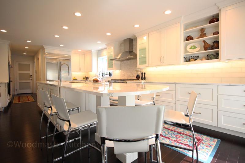 white kitchen design with open shelf storage