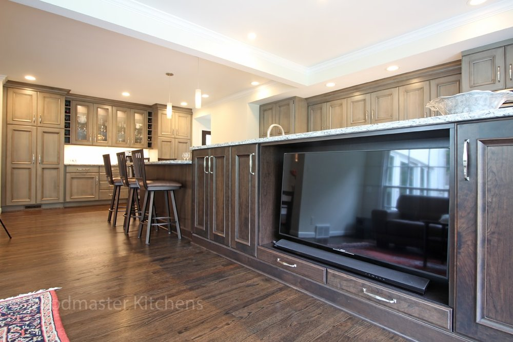 kitchen island with built in television