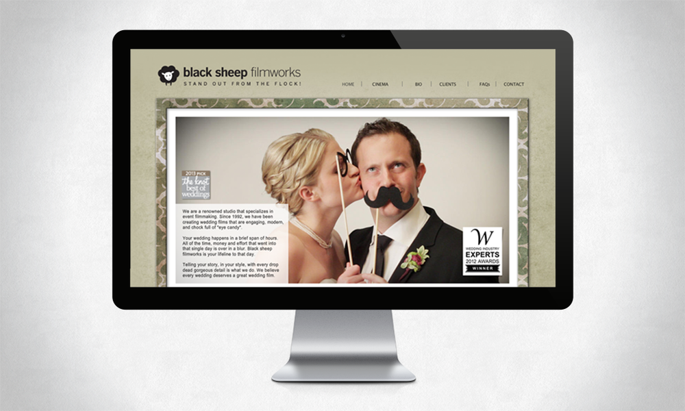 Website design for Black Sheep Filmworks, a wedding, event and corporate videography studio in Tucson AZ (www.blacksheepfilmworks.com)