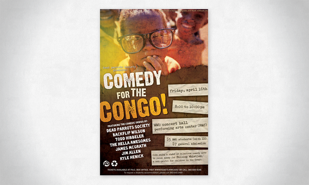 Poster design for Comedy For the Congo, a charity event in Bellingham, Washington