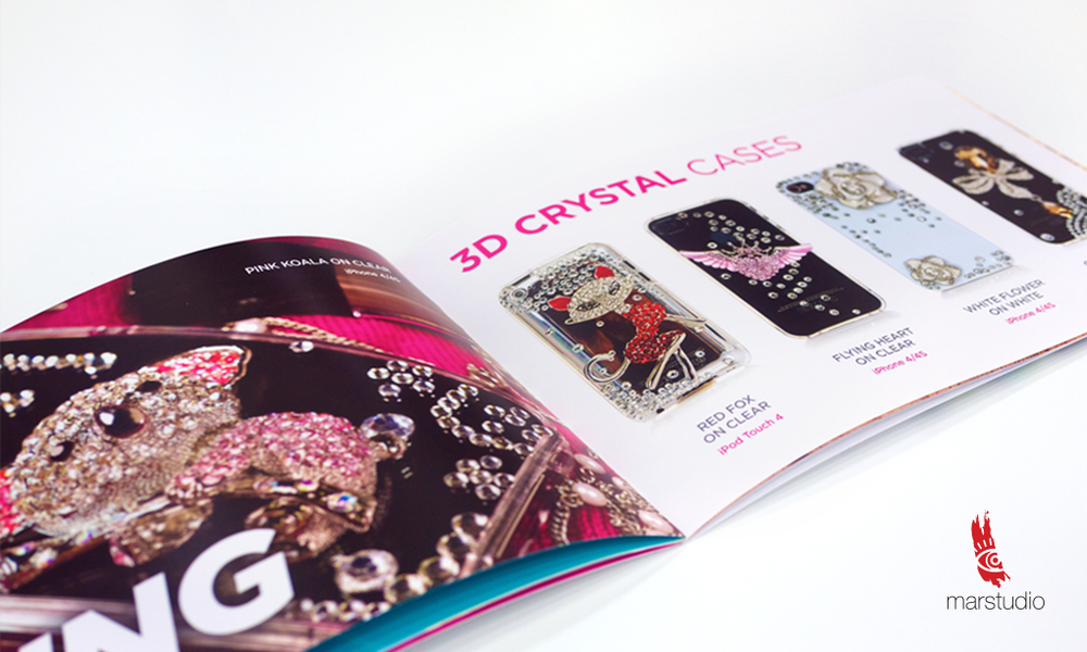 Brochure design for a manufacturer and distributor of novelty cell phone cases and accessories