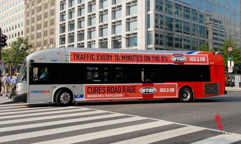Bus advertisement for a Washington DC news, traffic, and weather radio station
