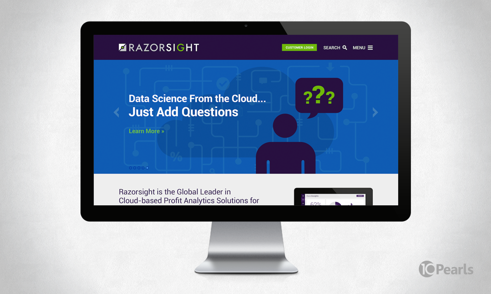 Website design for Razorsight, which offers cloud-based analytics for communication services providers