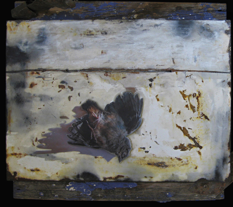 Spackling Encaustic Relief with photo and wire